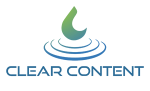 white clear content marketing logo